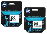 1x Set Original HP Tintenpatrone F6U66AE F6U65AE HP 302 HP302 für HP Officejet 3830 - BLACK + Color - Leistung: BK ca. 190 / Color ca. 165 Seiten/5% - 1